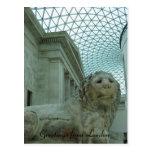 león del museo británico tarjeta postal