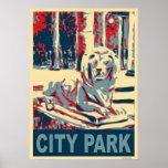 León del parque de la ciudad impresiones
