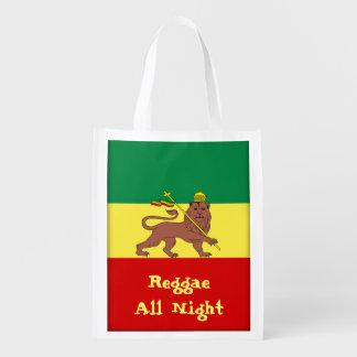 León del reggae de Rasta del reggae de Judah toda Bolsas Reutilizables