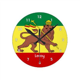León del reggae de Rasta del reloj de pared de