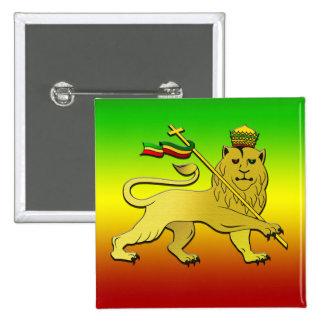 León del reggae del león de Judah Pin Cuadrado