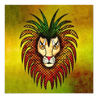 """León del reggae invitación 5.25"""" x 5.25"""""""