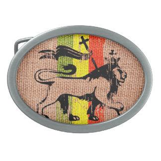 León del rey del reggae hebillas de cinturón ovales