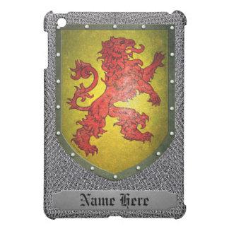 León del rojo del escudo del metal