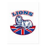León del rugbi que sienta la bandera británica del postal