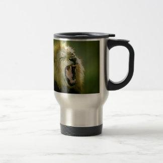 León del rugido taza de viaje de acero inoxidable