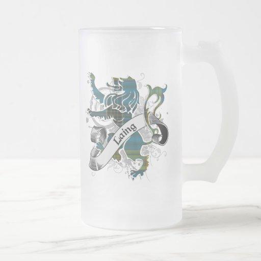 León del tartán de Laing Taza Cristal Mate