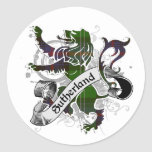 León del tartán de Sutherland Etiquetas Redondas