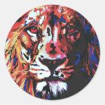 león del vector pegatina redonda
