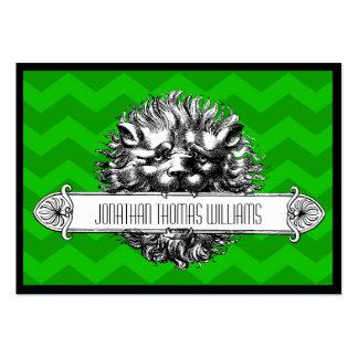 León del vintage y tarjeta de visita moderna verde