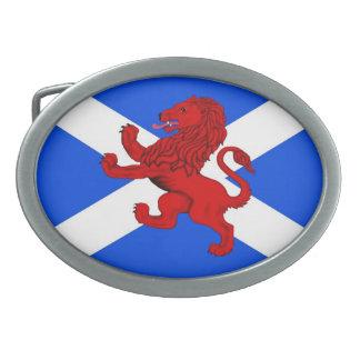 León desenfrenado/la bandera de Escocia Hebilla De Cinturon Oval