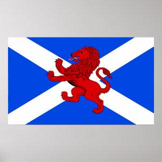 León desenfrenado/la bandera de Escocia Poster