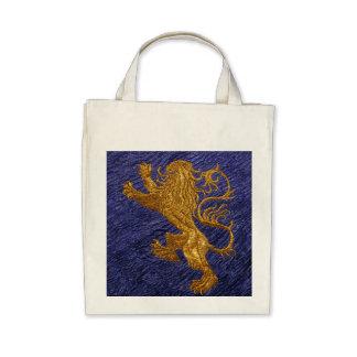 León desenfrenado - oro en azul bolsas lienzo