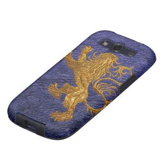 León desenfrenado - oro en azul galaxy s3 fundas