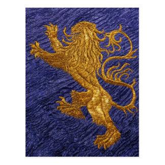 León desenfrenado - oro en azul tarjetas postales