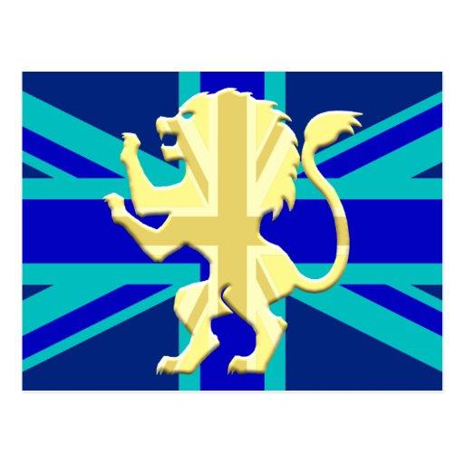 León desenfrenado sobre Union Jack Postales