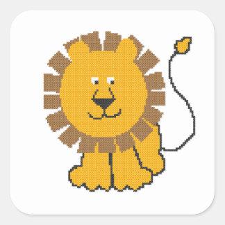 León divertido del dibujo animado del punto de pegatina cuadrada