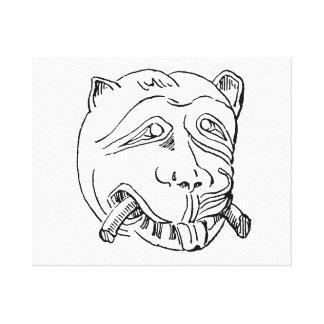 León drawing.png agged vintagej del golpeador de p lona envuelta para galerias