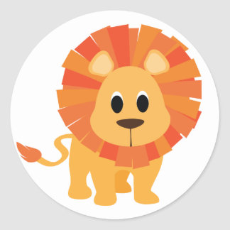 León dulce pegatina redonda
