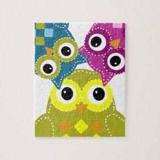 León el búho adorable de la verde lima puzzle con fotos