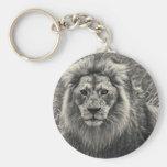 León en blanco y negro llaveros personalizados