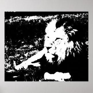 León en blanco y negro póster