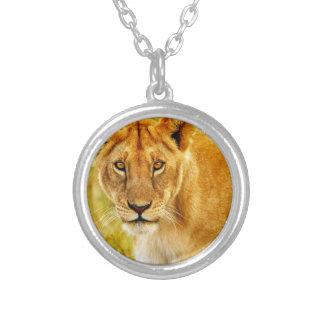 León en campo colgante redondo