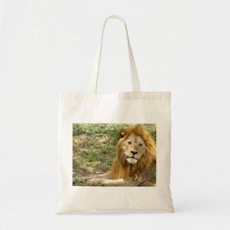 León en descanso bolsa tela barata
