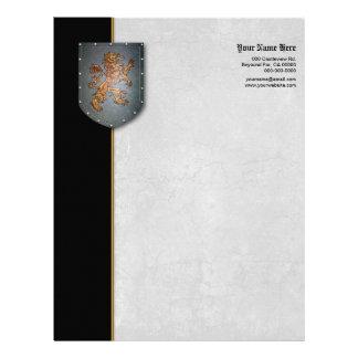 León en el gris del escudo del metal apenado a la membrete personalizado
