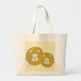León en fondo amarillo llano bolsas de mano
