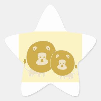 León en fondo amarillo llano calcomania forma de estrella personalizadas