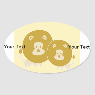 León en fondo amarillo llano calcomanía oval personalizadas