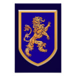 León en la impresión azul del escudo poster