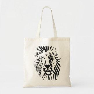 León en líneas abstractas bolsa tela barata