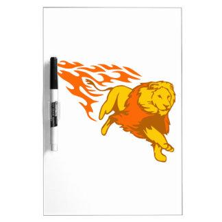 León en llamas pizarra blanca