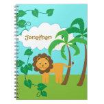 León en selva con las palmeras personalizadas libros de apuntes con espiral