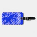 León escocés desenfrenado en el tartán azul y blan etiqueta para maleta