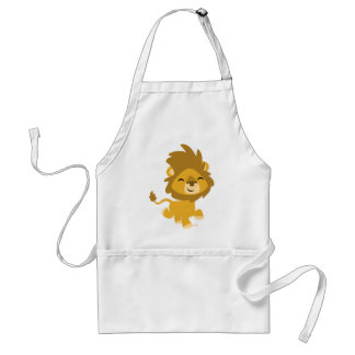 León feliz del dibujo animado que cocina el delantal
