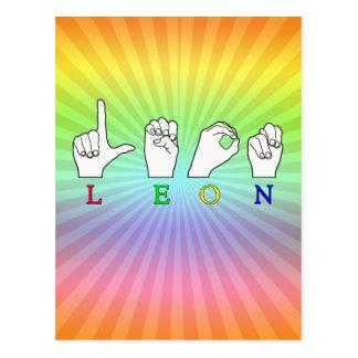 LEON FINGERSPELLED ASL NAME SIGN MALE POSTCARD