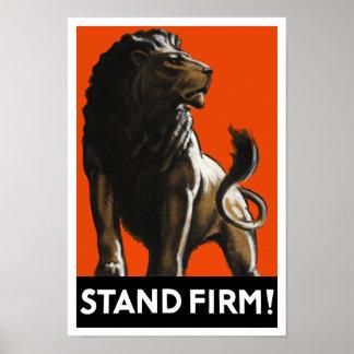 León firme del soporte -- Propaganda WW2 Póster