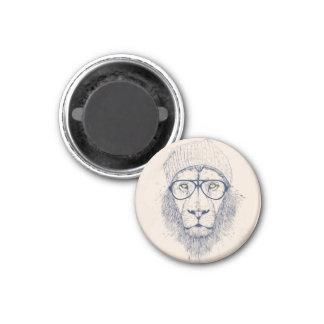 León fresco imán redondo 3 cm