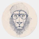 León fresco pegatina redonda