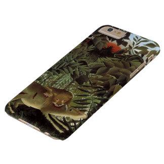 León hambriento de Henri Rousseau, animal salvaje Funda De iPhone 6 Plus Barely There