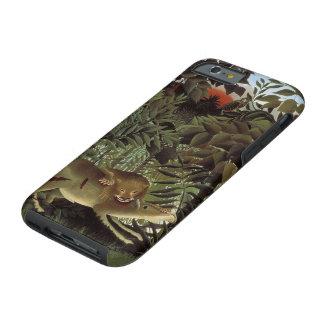 León hambriento de Henri Rousseau, animal salvaje Funda Resistente iPhone 6