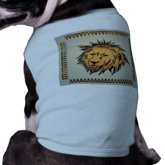 León hecho del metal oxidado playera sin mangas para perro
