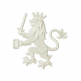 León heráldico real con la taza de cerveza camiseta polo bordada