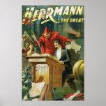 León Herrmann el acto mágico del gran vintage del  Posters