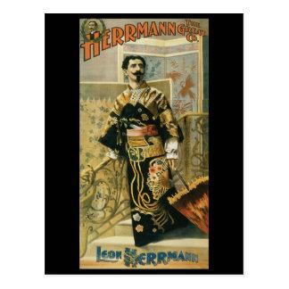 Leon Herrmann  Magician ~ Vintage Magic Act Postcard