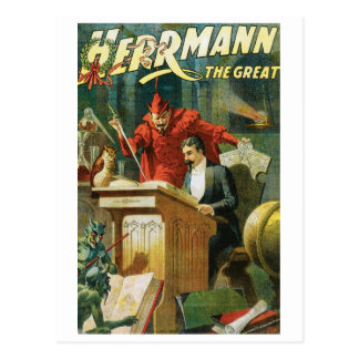 Leon Herrmann The Great ~ Vintage Magic Act Postcard