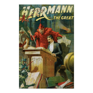 Leon Herrmann The Great ~ Vintage Magic Act Print